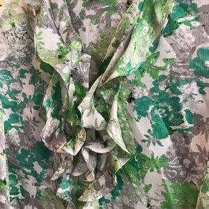 Green /grey sleeveless blouse with ruffle bodice